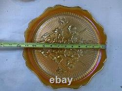 Iridescent Gold Carnival Glass Hostess Set Jeannette New In Original Box 711