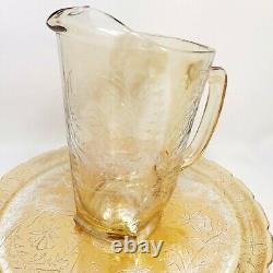 JEANNETTE GLASS Carnival Floragold Louisa Iridescent Pitcher Glasses Platter Set
