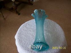 Jefferson Glass Company Opalescent Aqua Blue Ribbed Panel Pattern Scallop Edge