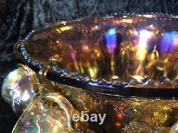 Large Indiana Amber Iridescent Gold Carnival Glass Punch Bowl Set