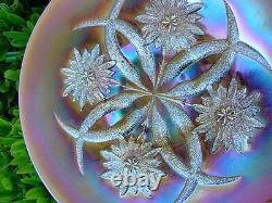 MINTc1911DUGANCARNIVAL GLASSPEACH OPALESCENTFOUR FLOWERS 10.75CHOP PLATE