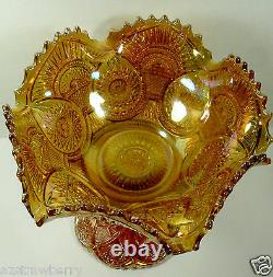 Marigold Iridescent INMERIAL CARNIVAL GLASS Twins Ruffled Bowl & Stand Footed