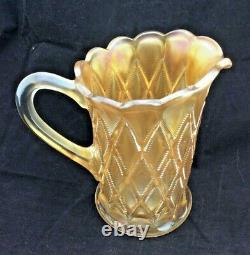 Millersburg Diamonds Carnival Glass Water Pitcher, Horehound Very Very Rare