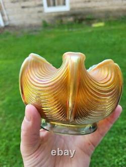 Northwood Aqua Opalescent Carnival Glass Drapery Rose Bowl Signed