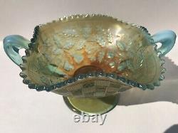 Northwood Aqua Opalescent Carnival Glass Fruits and Flowers Bonbon Wow