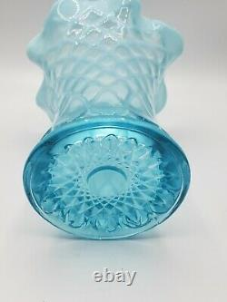 Northwood/Dugan/National Blue Opalescent Vase Opal Lattice Pattern Antique