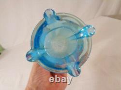 Northwood Four Pillars Vase n Aqua Opalescent Carnival Glass
