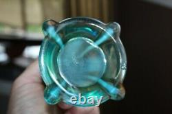 Northwood Glass Vase Aqua Opalescent Four Pillars Carnival Glass
