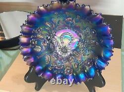 Northwood Iridescent Good Luck Bowl Cobalt Blue Carnival Glass 8.5 Made 1900s