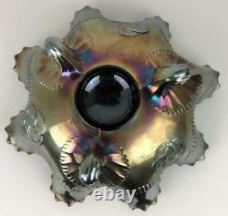 Northwood Purple Amethyst Carnival Glass Iridescent Wishbone Compote Bowl Dish