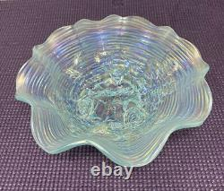 Northwood ROSE SHOW ANTIQUE CARNIVAL GLASS RUFFLED OWLAQUA OPALESCENTGORGEOUS