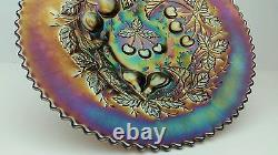 Northwood Three Fruits Basket Weave Exterior Amethyst Electric Iridescent Plate