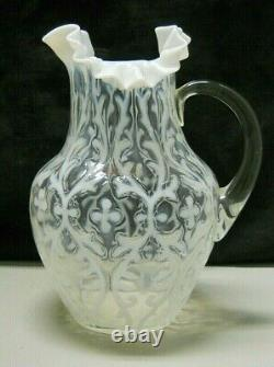 Northwood White OPALINE BROCADE Spanish Lace Water Pitcher Opalescent Glass