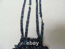 ORIGINAL 1920's BLACK IRIDESCENT CARNIVAL GLASS BEADED FLAPPER BAG / HANDBAG