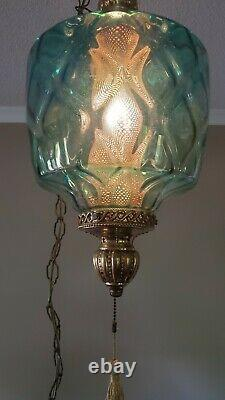 OUTSTANDING Vintage Carnival Iridescent Glass-Swag-Electric Light Fixture-MCM