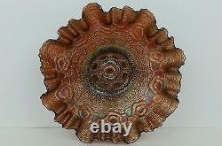 Old Fenton Captive Rose In Amethyst Iridescent 3 In 1 Crimped Ruffled Edge Bowl
