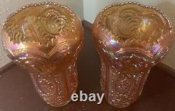 Pair Vtg Imperial Carnival Glass Scroll & Flower Panel Vase Marigold Iridescent