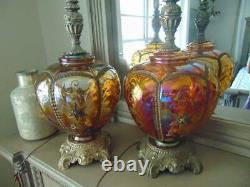 Pair antique vintage IRIDESCENT CARNIVAL GLASS TABLE LAMPS withnight lights 31