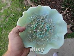 Pastel Aqua Opalescent Rose Show Ruffled Bowl Fantastic
