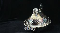 Quality Carnival Glass FENTON Large Hen On Nest Covered Dish Iridescent BLACK