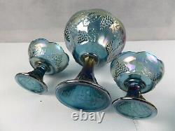 RARE CARNIVAL GLASS ELECTRIC BLUE IRIDESCENT GRAPE CABLE CANDY DISH n CUPS