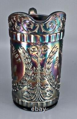 RARE DUGAN God & Home Pitcher Carnival Glass Iridescent AMAZING BLUE
