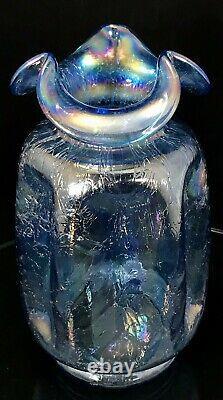 RARE Fenton Art Glass Twilight Blue Iridescent Carnival Crackle Ruffle Vase