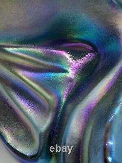 RARE Fenton Carnival Color Koi Fish 100th Anniversary Black Iridescent
