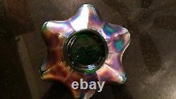 RARE Fenton Grape & Grapevine Carnival Bowl\Rare iridescent Color & Ruffled Edge