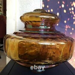 RARE Large Vintage Iridescent Carnival Glass Lamp Shade Dome Light Floor Ceiling