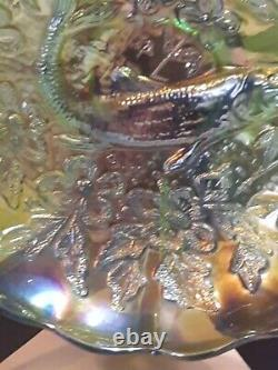 RARE Millersburg Trout and Fly Green Iridescent Carnival Glass Bowl 8.5