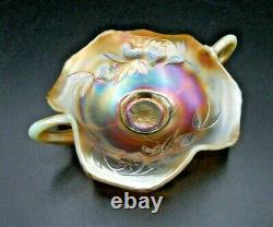 Rare! Beautiful Fenton Strawberry Vaseline Opalescent Carnival Glass Bon Bon