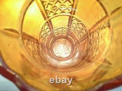 Rare Carnival Glass, Rekord Eda Diamond Wedges Iridescent Orange Vase