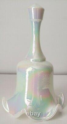 Rare FENTON White Carnival OPALESCENT Glass Bell BEAUTIFUL withElegant Ruffles