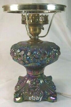 Rare Fenton Purple Amethyst Poppy Carnival Iridescent Glass Lamp Base