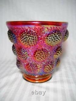 Rare Fenton Verlys Les Cabochon Red Iridescent Contemporary Carnival Glass Vase