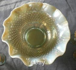 Rare Fenton/levay Aqua Opalescent Carnival Glass #3611 Hobnail Champagne Set