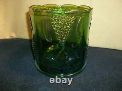 Rare Indiana Green Grape Harvest Cookie Jar Canister Iridescent Largest Size 9.5