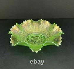 Rare Northwood Green Iridescent Carnival Glass Hearts And Flowers Ruffled Bowl