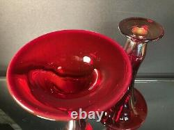 Rare Pair Dugan Diamond Glass Ruby Red Royal Luster Candlesticks Carnival Glass