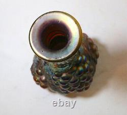 Rare vintage carnival iridescent glass figural leaf and berry grape Fenton vase