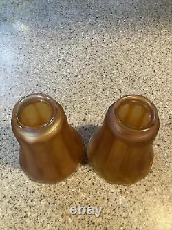 SET OF 2 Vintage NUART Marigold Iridescent Carnival GLASS SHADES