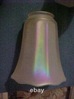 Set of 4 NUART Marigold Carnival Iridescent Art Glass Lamp Shades 2-1/4 Fitter