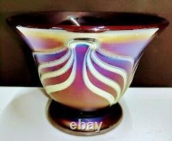 Signed Brian Lonsway, Toledo Studio Art Glass Vase Iridescent Purple/Carnival