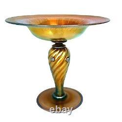 Steuben Aurene Glass Compote Comport Dish on Pedestal 6 Iridescent Gold #2604