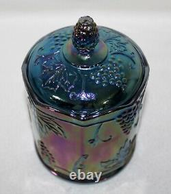 Stunning Vintage 1970s Indiana Glass IRIDESCENT BLUE HARVEST GRAPES CANDY JAR