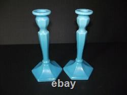 Taper Candle Holder Stretch iridescent Sky Blue Aqua Glass Fenton 449 florentine