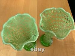 Two Green Opalescent Hobnail Tree Trunk Pattern Vases