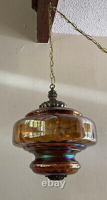 VTG Amber Iridescent Carnival Glass Swag Hanging Light Fixture Lamp Bronze Metal