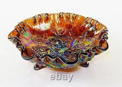Vintage 3 Footed Glass Bowl, Imperial Lustre Rose Pattern, Iridescent Amethyst